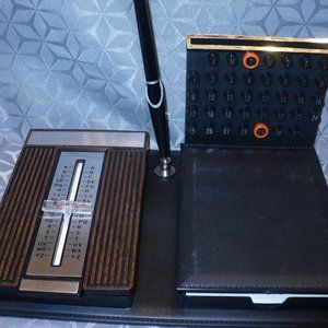 Vintage Desk Set Pen Perpetual Calendar Phone Book